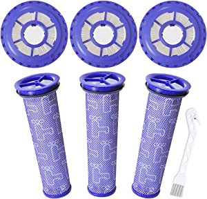 Mochenli 3 Pack Hepa Post Filter & 3 Pack Pre Filter Replacement Vacuum Filter for Dyson DC41, DC65, DC66 Animal, Multi Floor and Ball Vacuums. Replaces Part 920769-01 & 920640-01.
