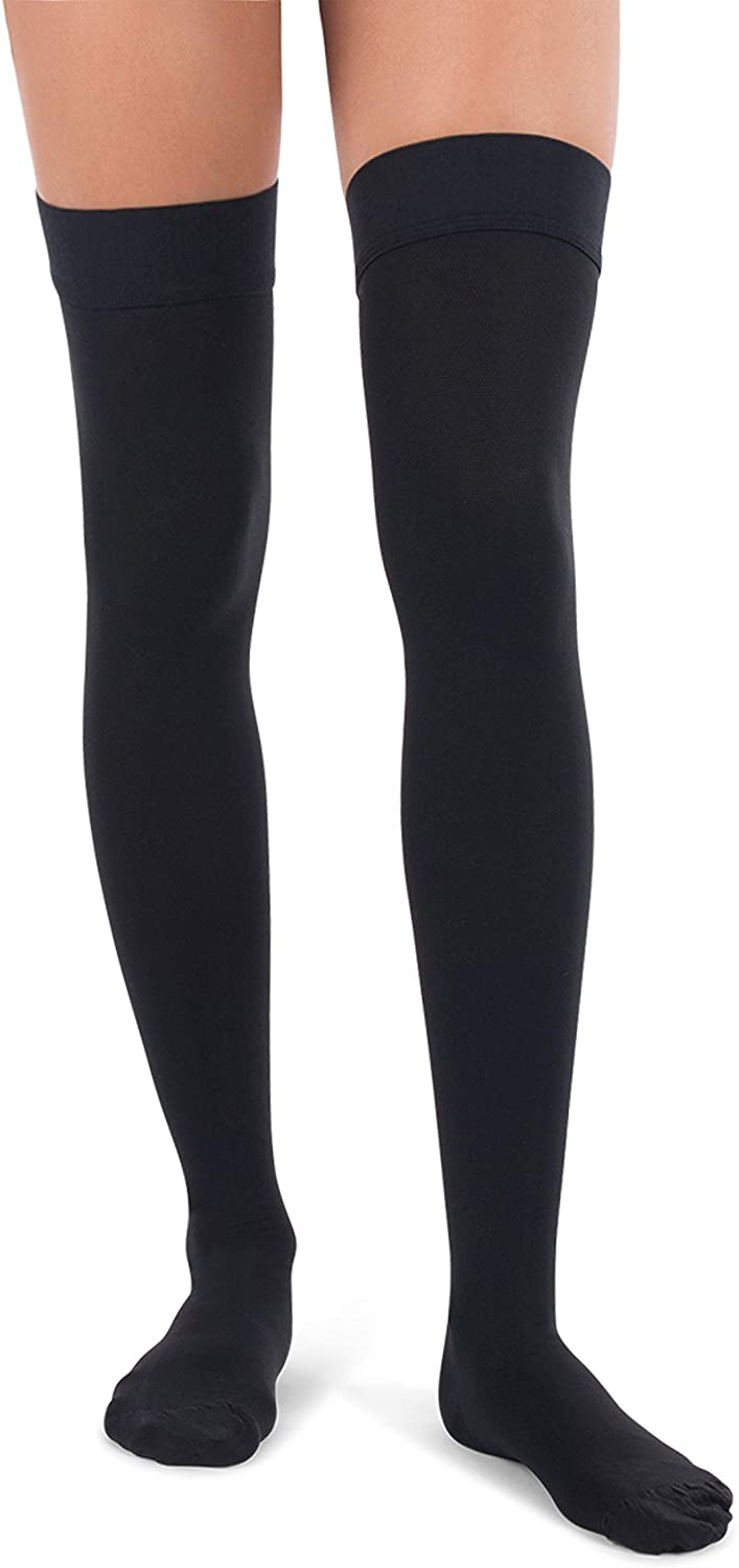 Jomi Compression, Unisex, Thigh High Stockings Collection, 30-40mmHg Surgical Weight Closed Toe 340 (Large, Black)