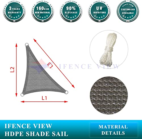 Ifenceview Right Triangle UV Sun Shade Sail for Patio Yard Driveway Canopy Awning Outdoor Facility 24 x24 x33.9 , Grey