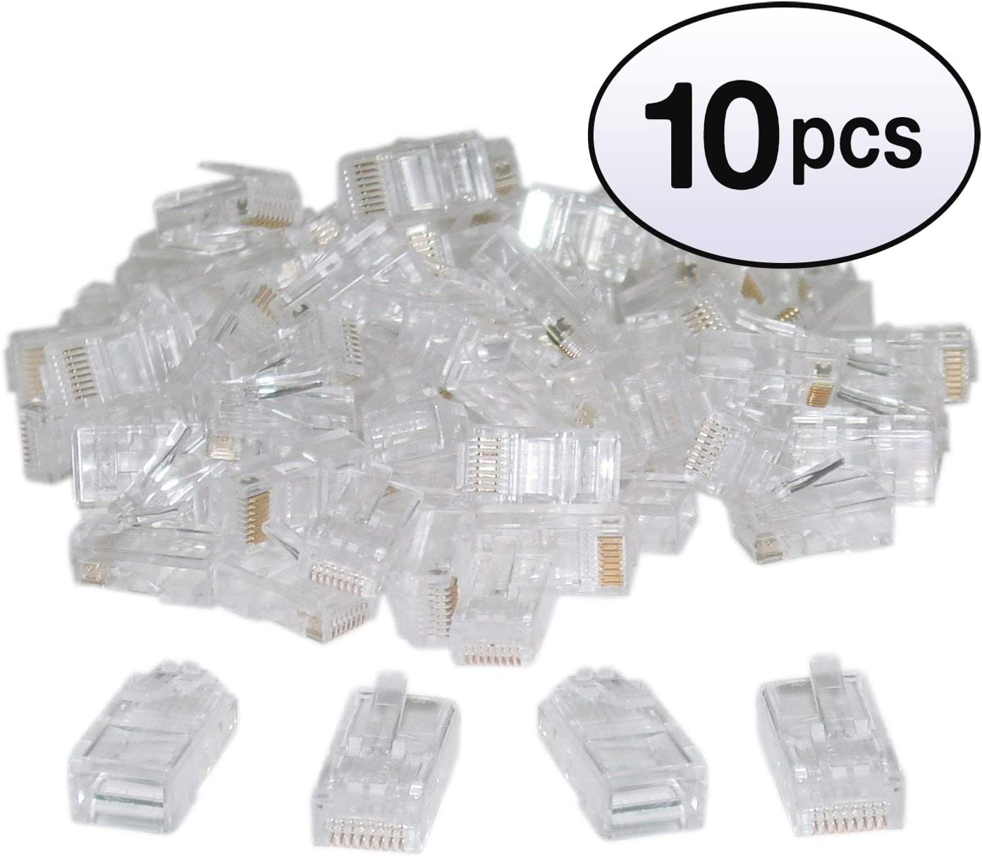 4 Pack 100 Pieces GOWOS Cat6 RJ45 Crimp Connectors for Solid and Stranded Cable 8P8C