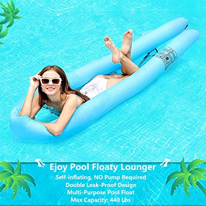 Ejoy Pool Floats for Adults Inflatable Lounger Portable Floating Lounger  Chair Water Hammock for Summer Swimming Pool Activity [Self Inflating, No  ...