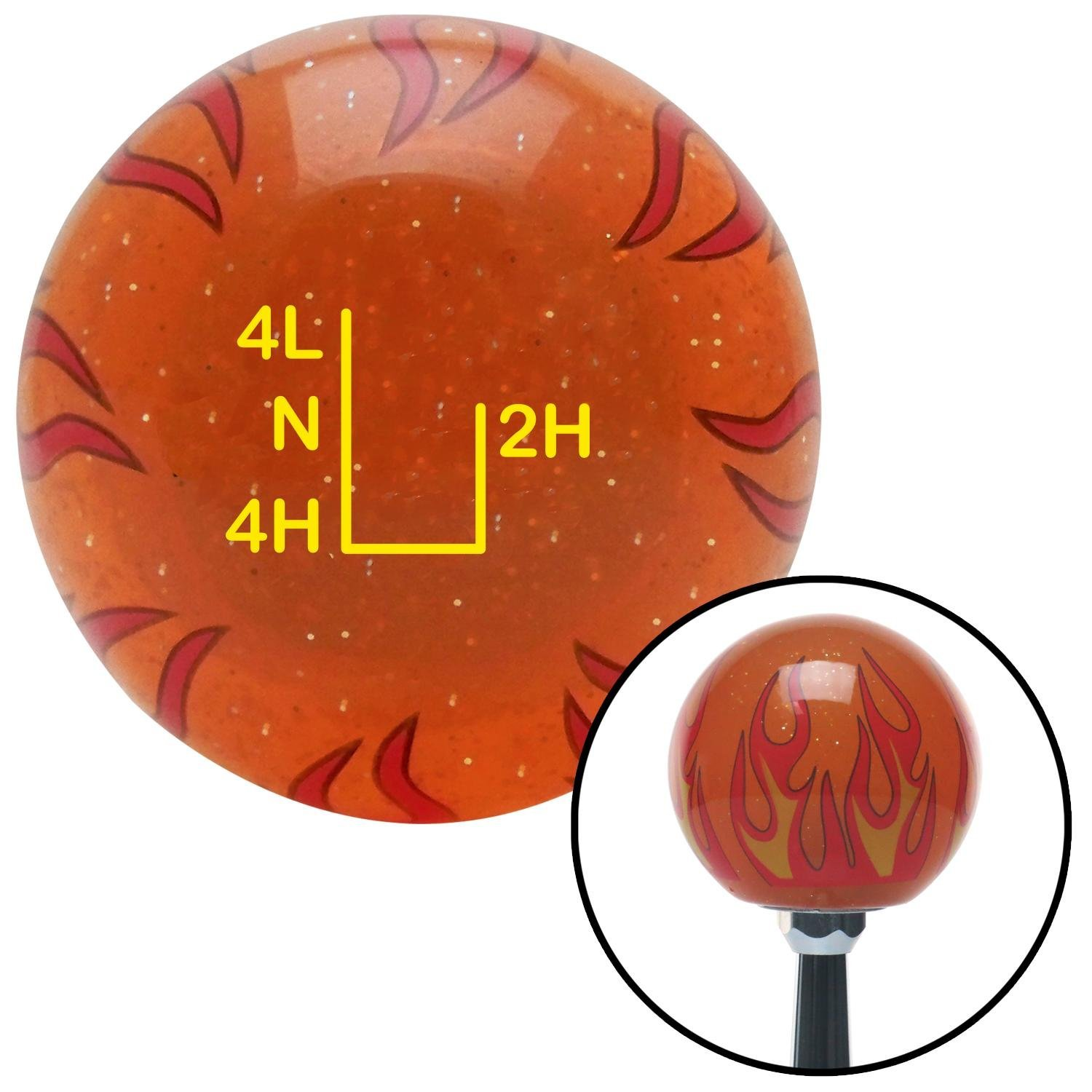 American Shifter 259610 Orange Flame Metal Flake Shift Knob with M16 x 1.5 Insert Yellow Shift Pattern 54n