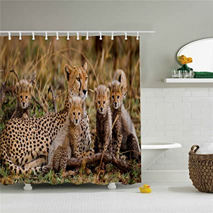 Leopard Bathroom Set With Shower Curtain And Accessories