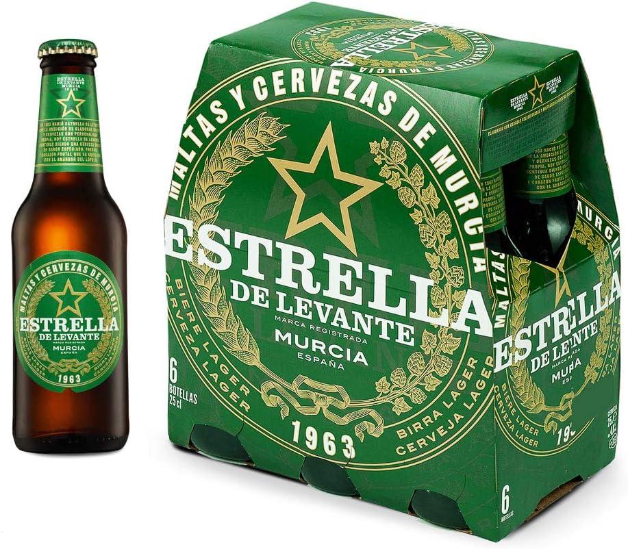 Cerveza Estrella de Levante Pack de 6 Botellas 25cl: Amazon.es ...