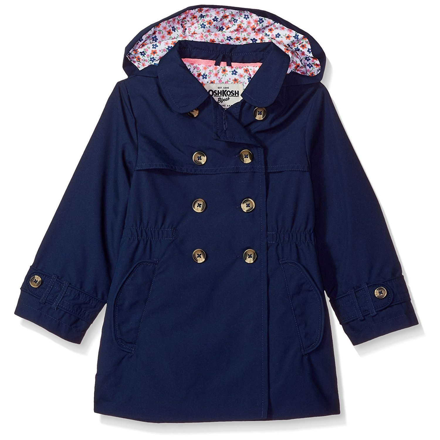 Osh Kosh Girls' Toddler Hooded Trench Coat, Current Navy, 3T