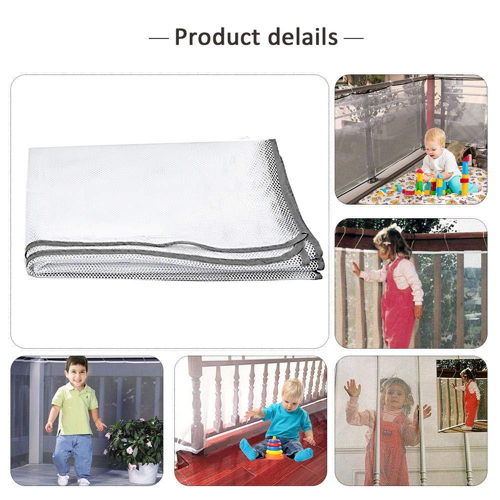 Barrière de Sécurité Filet de Protection Pour Balcon 2/5 Mètres De Rail de Sécurité Épaissi, Filet de Sécurité Pour Balustrade de Balcon Et d'Escalier Extérieur,Protecteur d'Escaliers de Sécurité d Hifuture