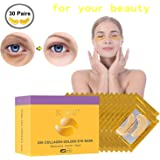 30 Pairs Under Eye Patches, Under Eye Bags Treatment Gold Under Eye Mask Anti-Aging Hyaluronic Acid for Moisturizing and Reducing Dark Circles Puffiness Wrinkles