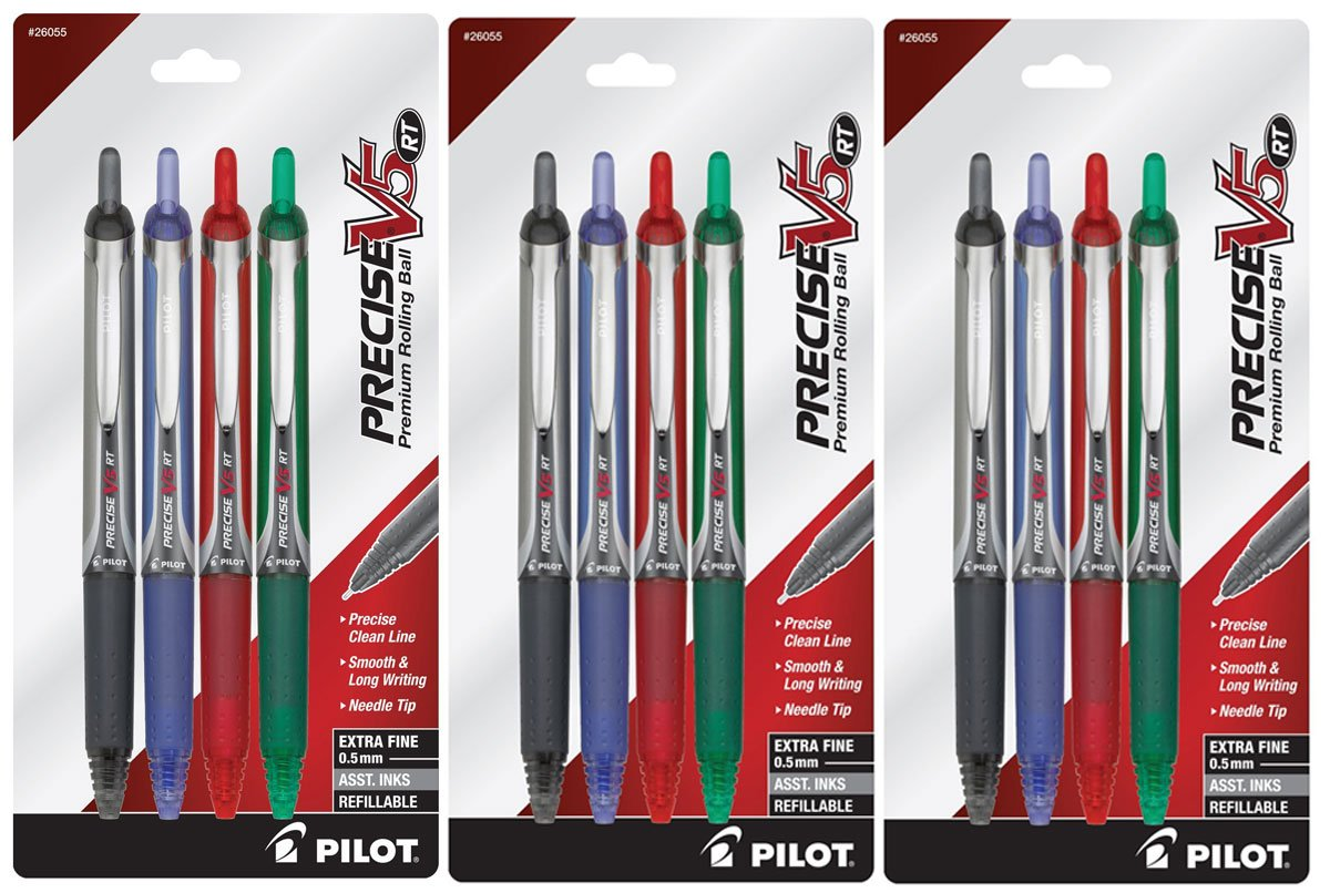 Pilot Precise V5 RT Retractable Fine Point Rolling Ball Pen, 3 Each Black/Blue/Red/Green Ink, 12-Pack