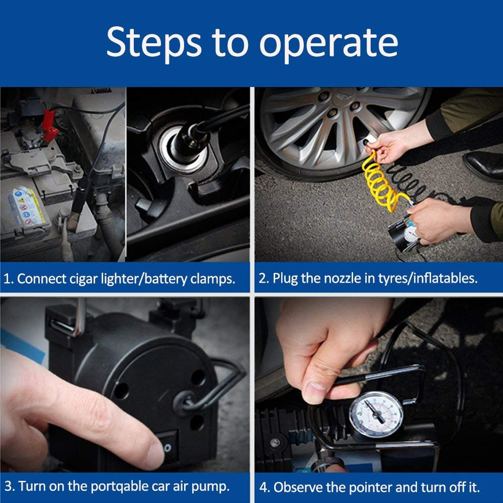 Premium Tyre Inflator 12V DC Portable Auto Air Compressor with Pressure Gauge 100 PSI and Adapter for Car//Bicycle//Ball Viotte Car Air Pump