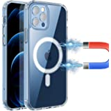 RESTONE Clear Magnetic Case for iPhone 12/12 Pro 6.1 Magsafe Charging, Slim Fit Hard Back Soft Silicone TPU Bumper Cover…