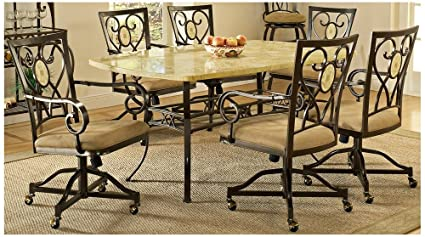 Amazon.com: Hillsdale Brookside 7 Piece Dining Set with Oval ...