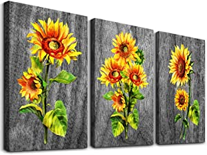 Canvas Wall Art for Living Room Bedroom Decorations Kitchen Wall Decor Yellow Flowers Sunflower Pictures Ready to Hang Paintings Home Decoration 12x16 inches 3 Pieces Framed Canvas Prints Artwork