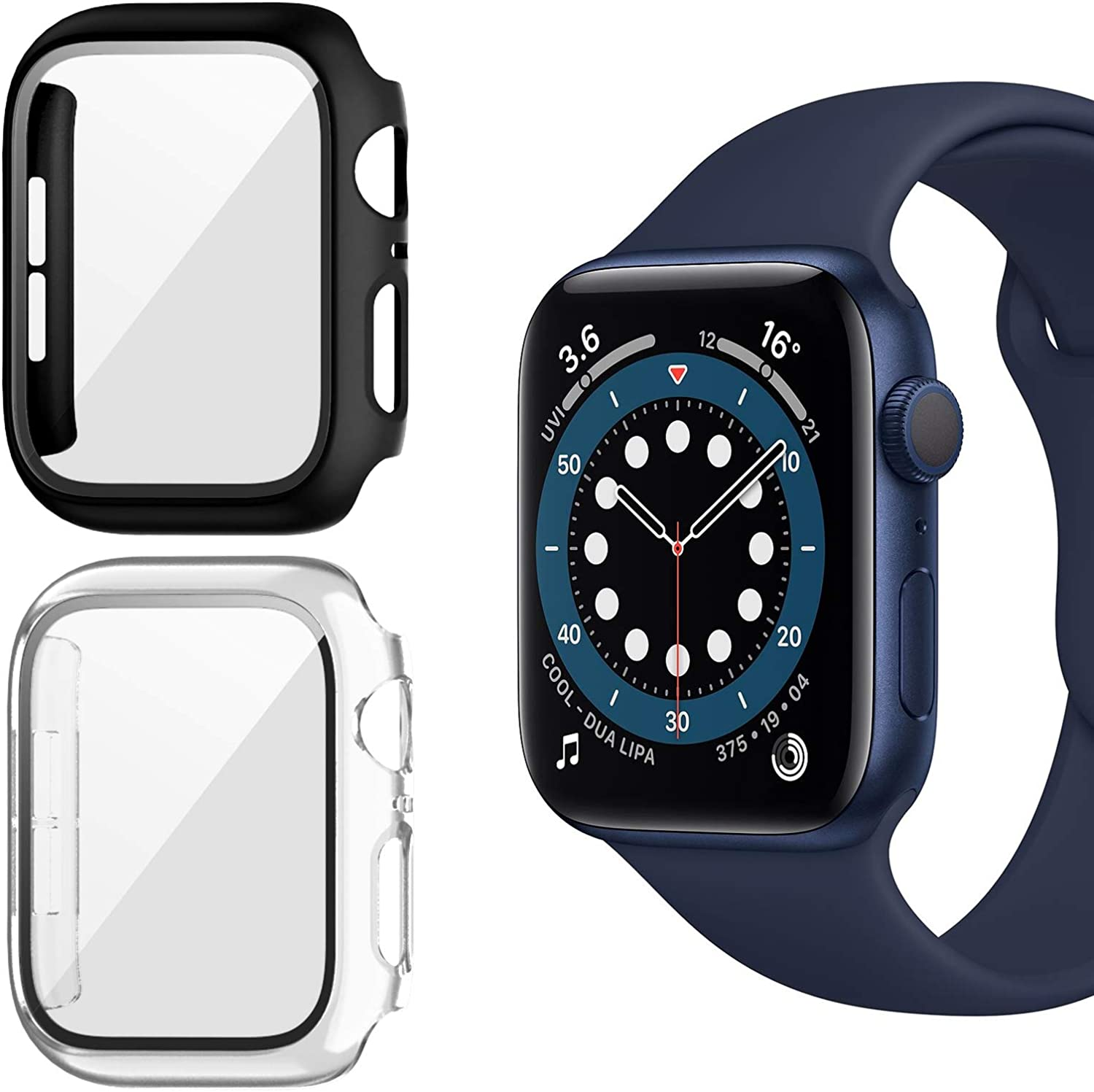Landhoo 2 Pack case for Apple Watch Series SE/6/5/4 44mm Screen Protector with Tempered Glass, Hard PC HD Full Cover Protective iwatch(Black+Clear).