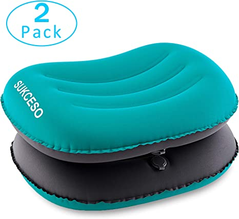 Cuscini gonfiabili ultraleggeri da campeggio comprimibili compatti e confortevoli per dormire durante i viaggi Cuscini da campeggio ergonomici gonfiabili per collo e supporto lombare. escursioni o zaino in spalla