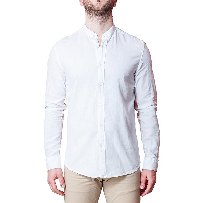 new product 86fe9 59383 Camicia Uomo 100% Lino Collo Coreano Bianca Elegante Slim Fit Manica Lunga  Sartoriale Classica Camicetta Casual sotto Giacca