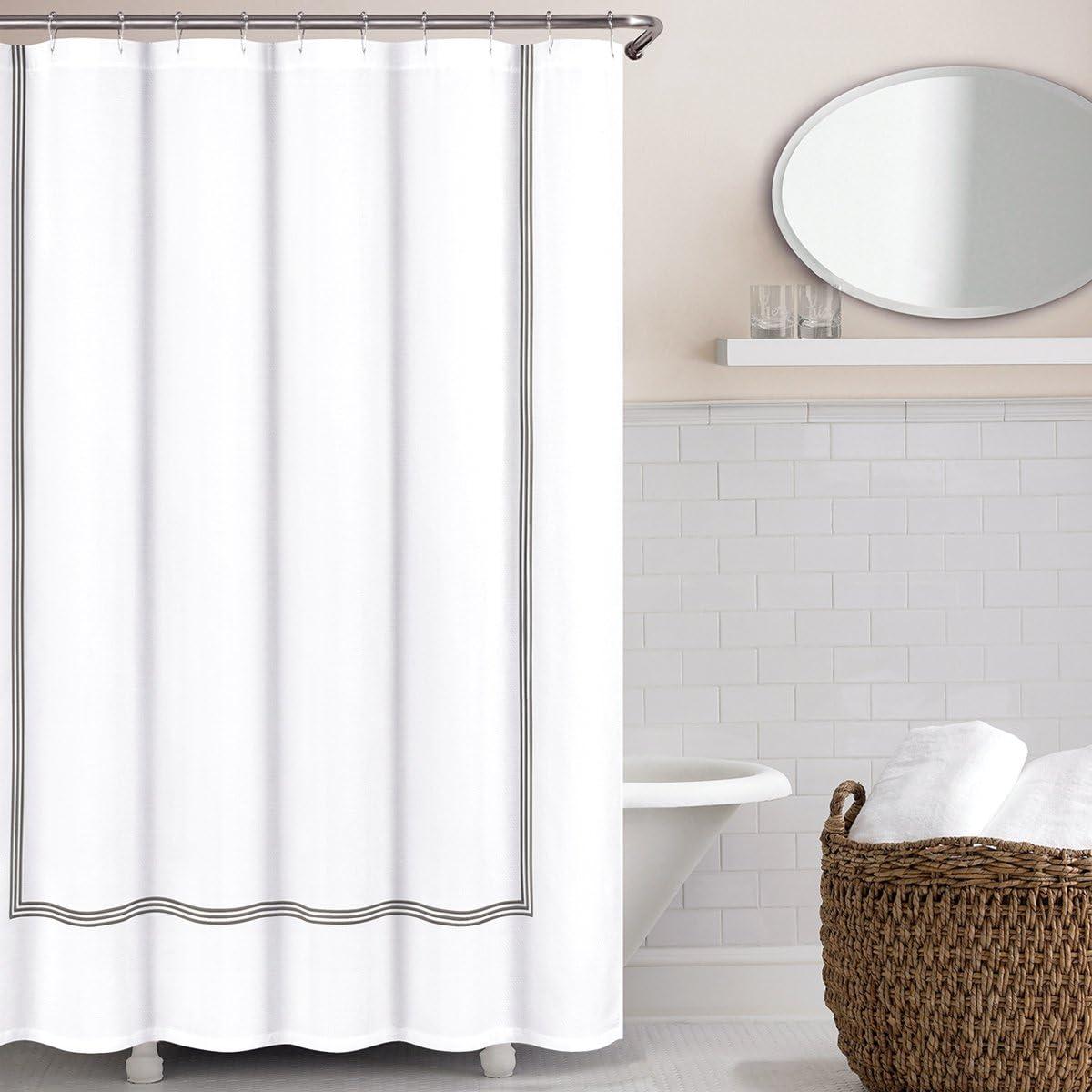 Echelon Home Collection Navy Echelon Hotel Three Line Shower Curtain