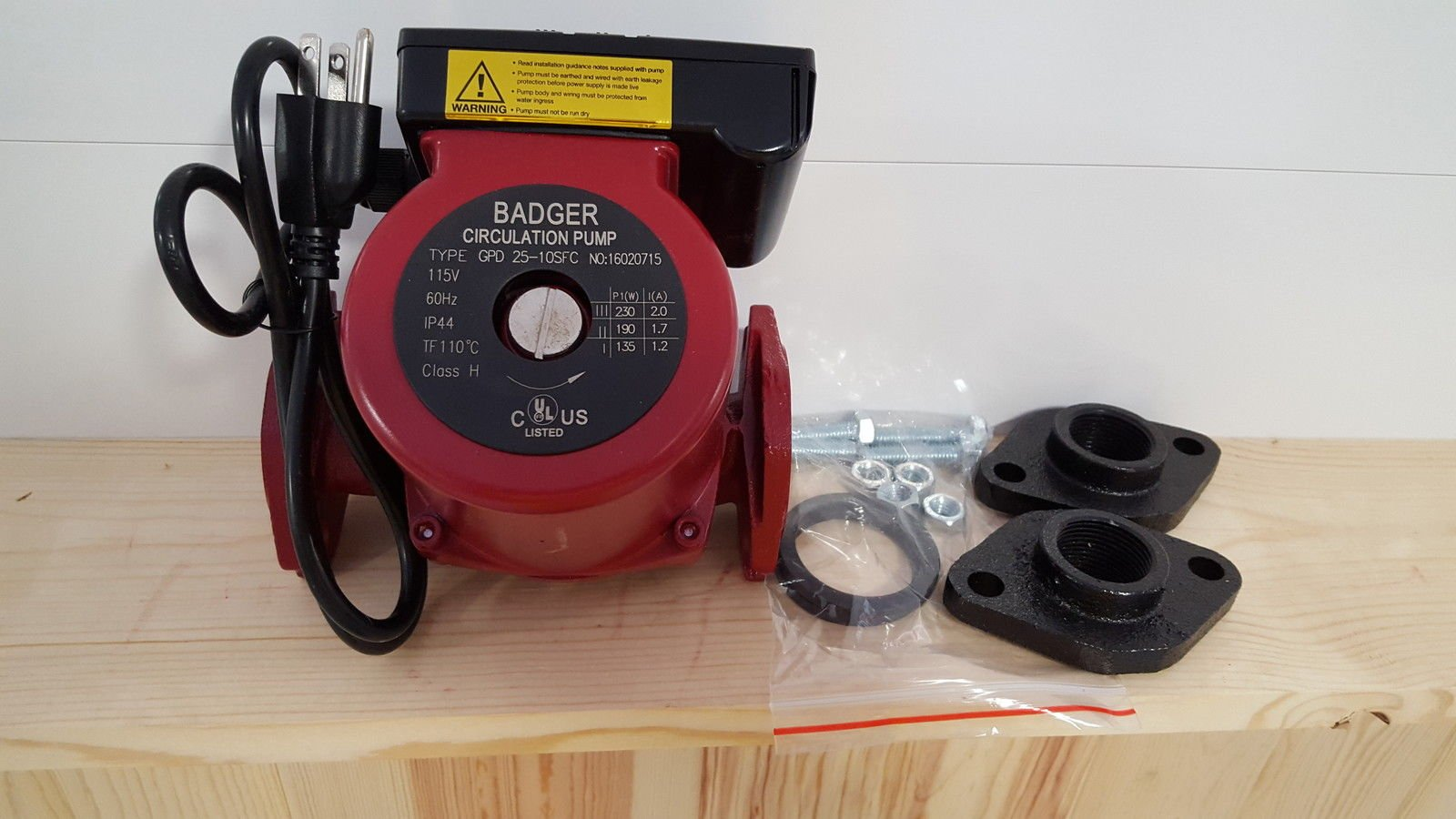 34 GPM 3 speed Circulating Pump w/1'' Cast Flange Set