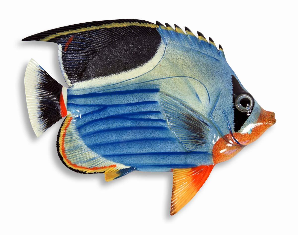 LX Handpainted 8'' Blue Wave Tropical Fish Replica Wall Mount Decor Plaque