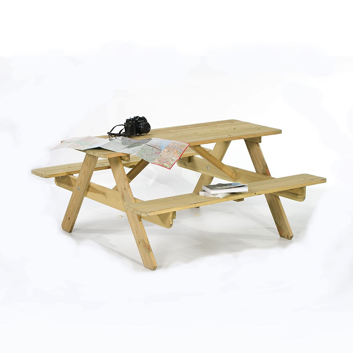 Leisurebench Picnic Pub Bench 6 Seater FSC Wooden Garden Patio Table Thick Timbers BrackenStyle