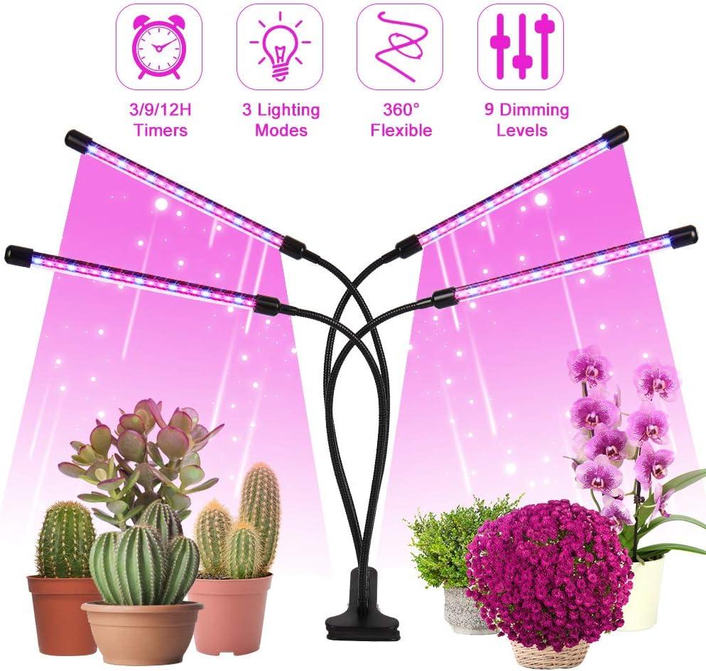 LED de lámpara de planta, luz de crecimiento de luz LED de planta, 4 cabezas 80 LED de luz de crecimiento Espectro completo 3 ajuste de temporización Lámpara de crecimiento para plantas de interior