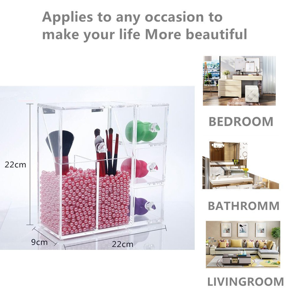 Makeup Brush Holder, Acrylic Makeup Organizer with 2 Brush Holders and 3 Drawers Dustproof Box with Free Pink Pearl