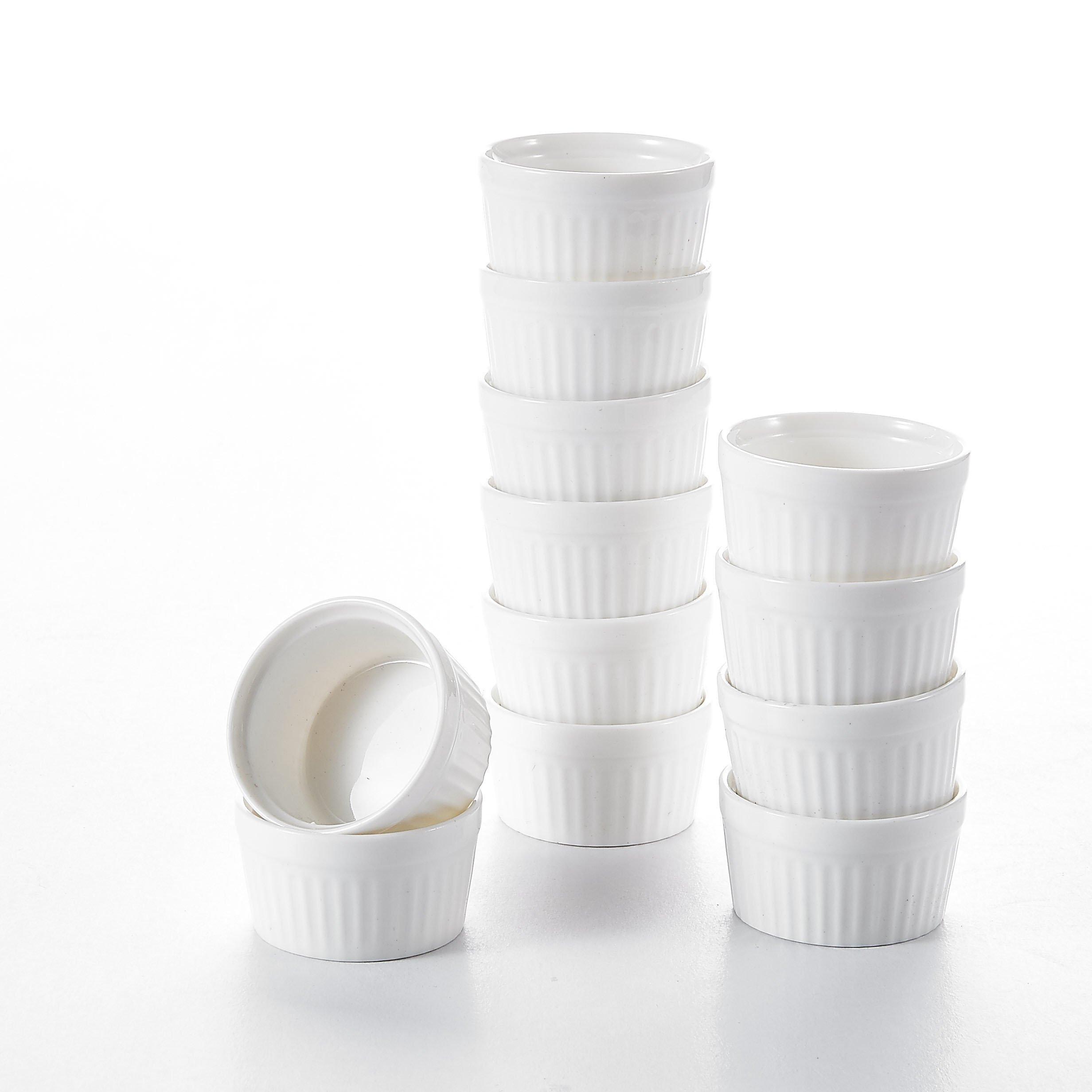 Malacasa 2.4'' Porcelain Ramekins Dipping Bowls, Ivory White 2oz Souffle Baking Dish, Set of 48