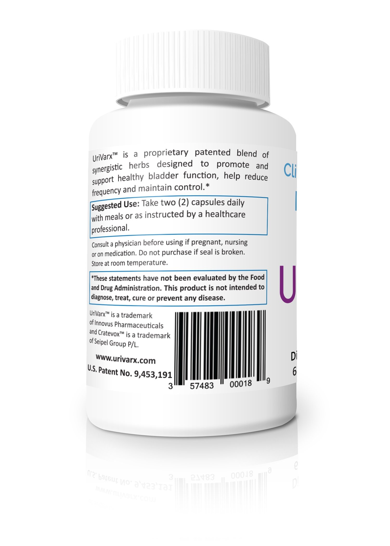 UriVarx - Clinically Proven Bladder Control to Promote and Support Healthy Bladder Function, Help Reduce Frequency and Maintain Bladder Control - 60 Veggie Capsules by UriVarx (Image #3)