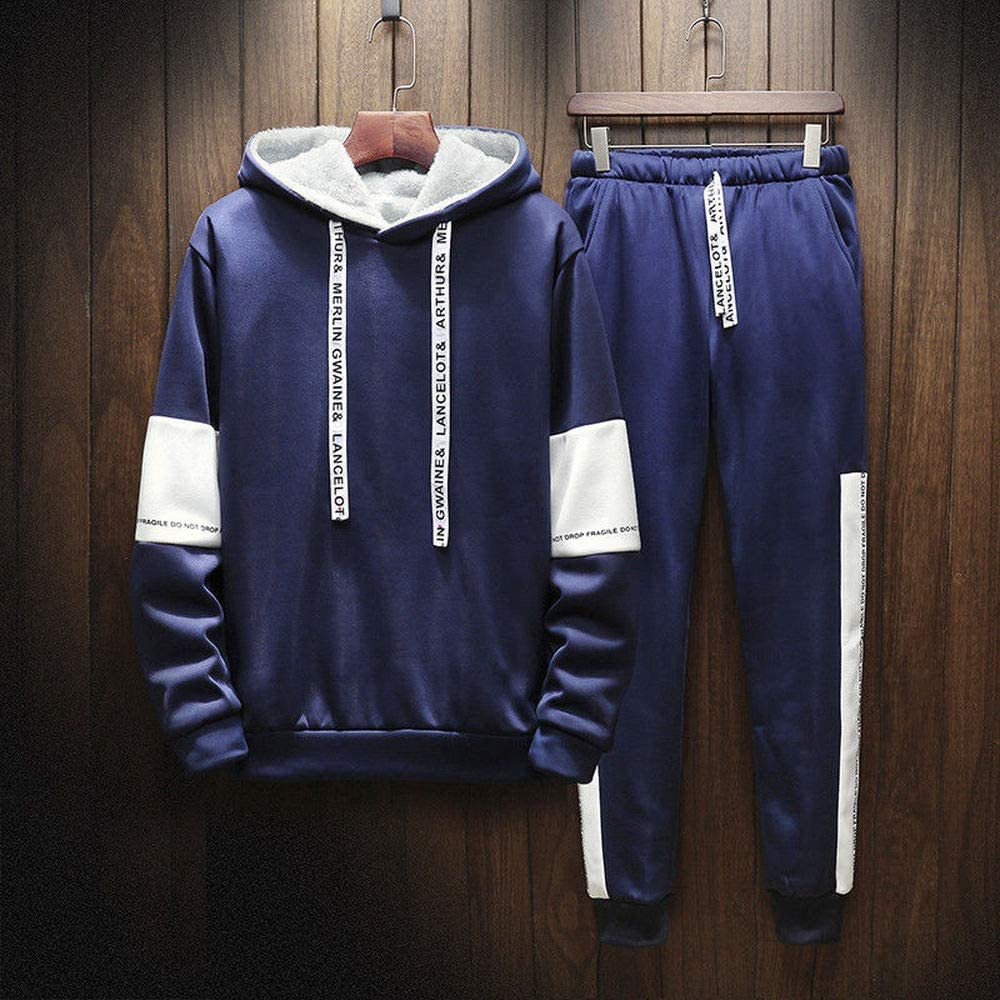 Super color Mens Winter Sweatsuits Sports Suits Warm Tracksuits Gym Active Hoodies Jogging Running Workout