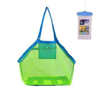 KAKOO Borsa da spiaggia per giocattoli,Borse da spiaggia a rete Per Riporvi Giocattoli da Bambino Palline o Altri Articoli da Spiaggia per la vacanza in famiglia(Verde)