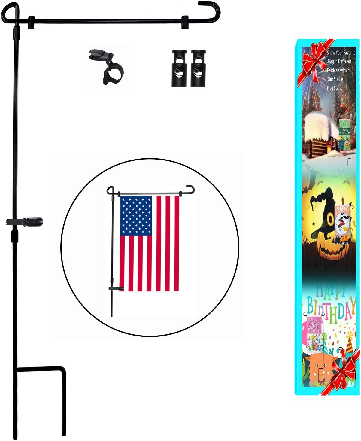 """HOOSUN Garden Flag Stand Yard Flag stand Pole Holder 36.5"""" H x 16.5"""" W Fits 12.5"""" x 18"""" flag without flag"""