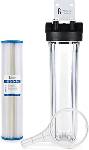 Well Water Whole House Sediment Rust Complete Filtration System, Pleated Washable filter, 20 Clear Housing 1 Ports