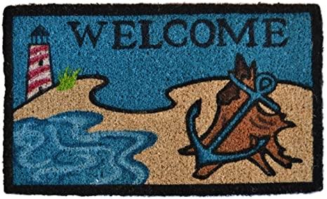 Imports Decor Printed Coir Doormat, Beach Lighthouse, 18 Inch By 30 Inch