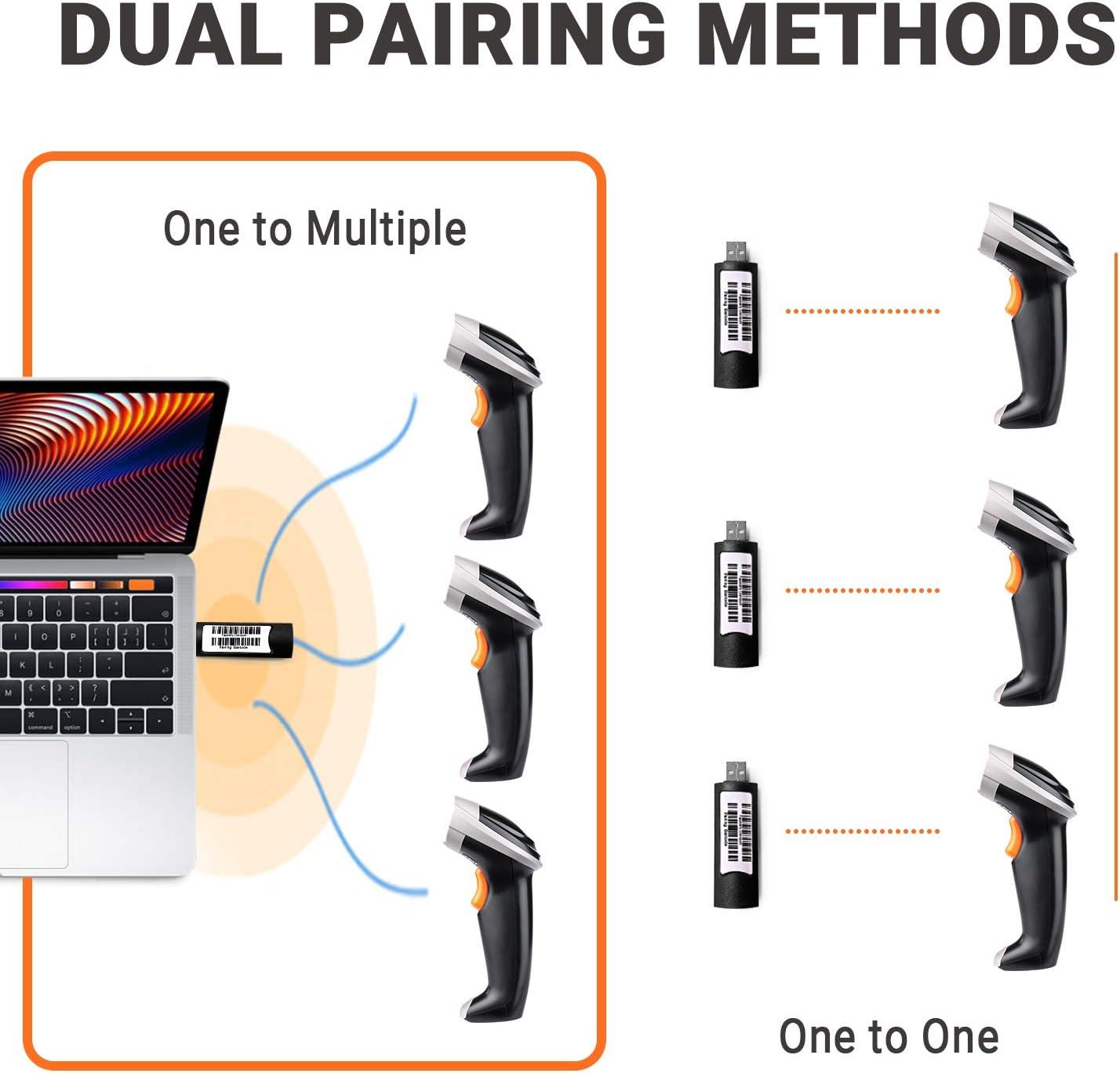 Trigger//Auto Continuous Scanning 1D-Barcodeleser mit 100m /Übertragungsentfernung kein Treiber f/ür PC//Laptop erforderlich 2.4G USB und Datenkabel MSC01 TACKLIFE Wireless Barcode Scanner