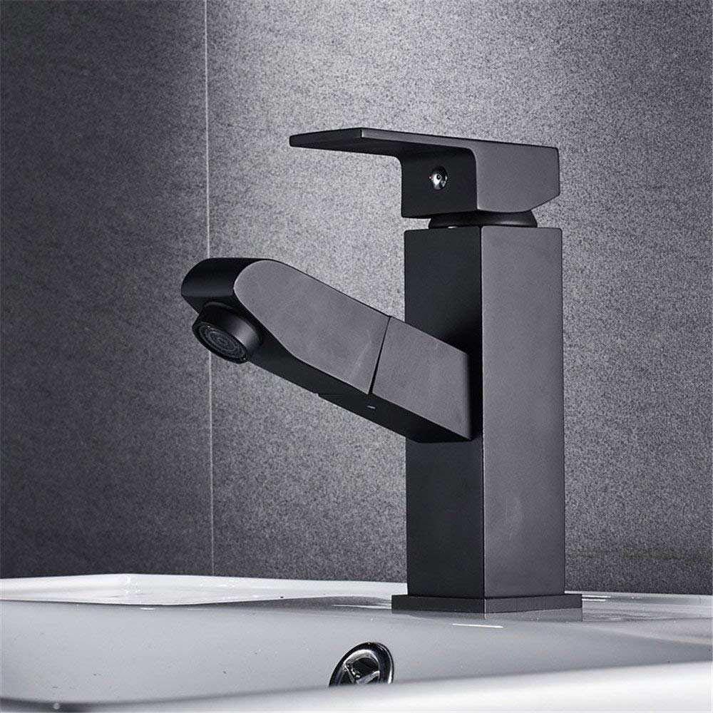 Oudan Shampoo, Basin, Faucet, Pull, Copper, Cold, Hot Water Faucet, Washroom, Bathroom, Telescopic Faucet Cabinet, Single Hole, Right Angle, Black. (Color : -, Size : -)