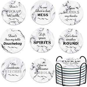 TEUVO Funny Coasters for Drinks, Absorbent Coasters with Holder for Kitchen Decor, Home Decor and Party Supplies, Novelty Gift for Birthday and Housewarming, Set of 8