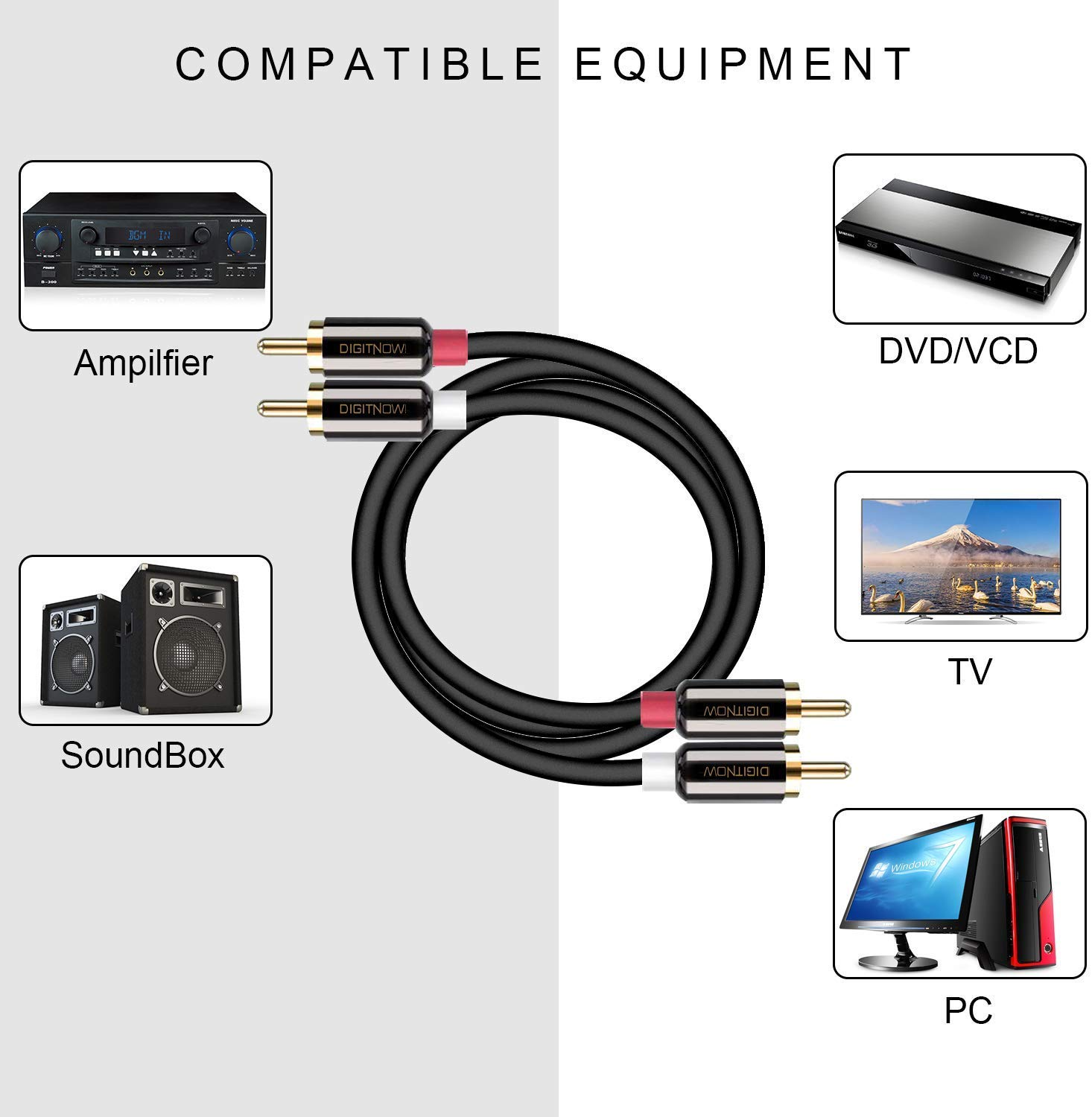 6.6Ft TV 2RCA Male to 2 RCA Male Stereo Audio Cable Gold Plated for Home Theater Hi-Fi Systems Gaming Consoles