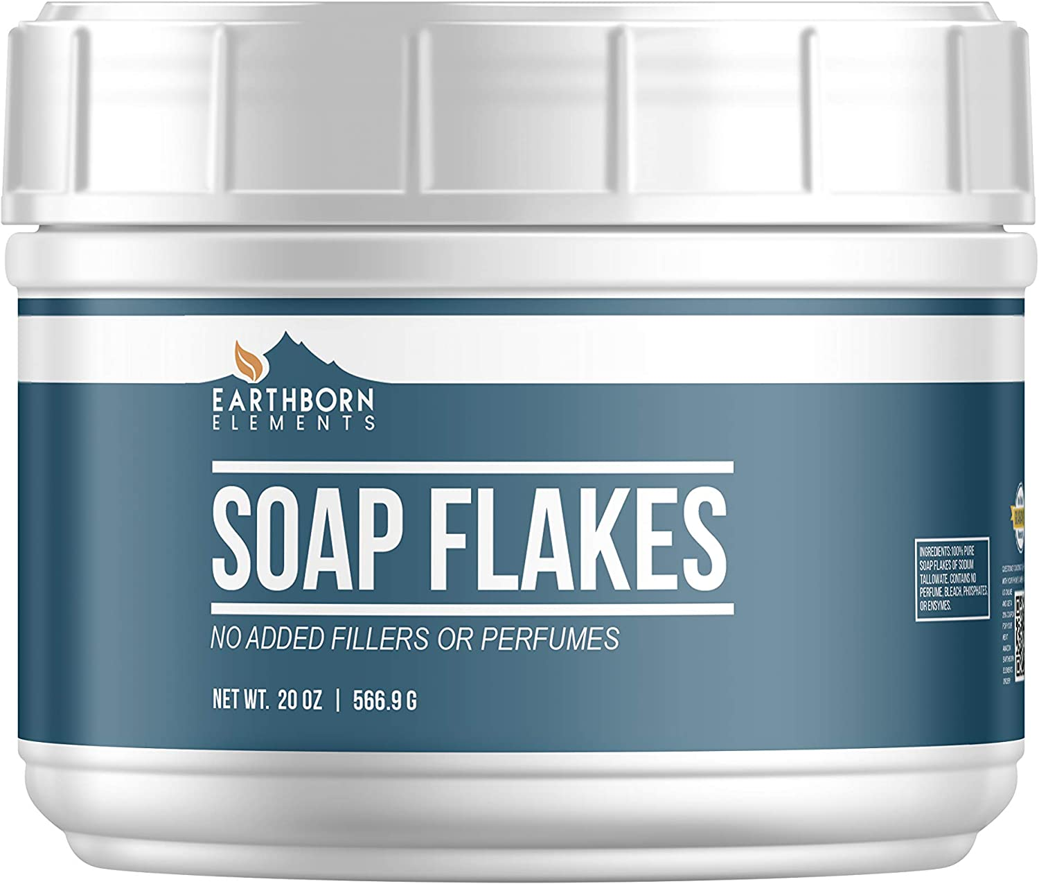 Pure Soap Flakes (20 oz) by Earthborn Elements, Resealable Tub, Ingredient to Make Liquid or Powdered Homemade Laundry Detergent for Cleaning