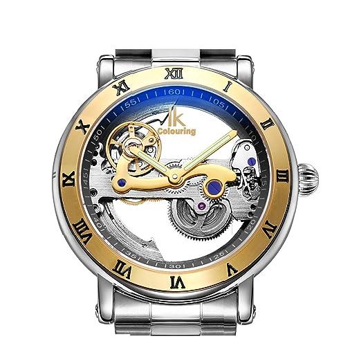 High Quality IK automático mecánica relojes hombres marca de lujo oro rosa caso esqueleto de acero inoxidable transparente reloj Relogios Masculino: ...
