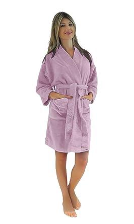 06673be407 Bath   Robes Women s Chenille Short Robe Mid Length Soft Bathrobe L XL  Candy Pink