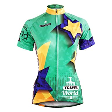 023c4d7f0 QinYing Women Breathable Outdoor Bicycle Cycling Jersey Shirt Green S
