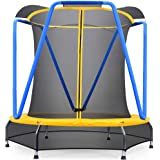 Zupapa 54 inch 66inch Indoor Small Trampoline for Kids Children Ultra Quiet Mini Toddler Baby Trampoline with Enclosure…