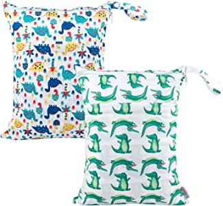 ALVABABY Wet Dry Bags with Two Zippered Pockets 2 Pack Travel Beach Pool Daycare Soiled Baby Items Reusable Waterproof Yoga Gym Bag For Baby Cloth Diaper Swimsuits Wet Clothes Setting Gifts