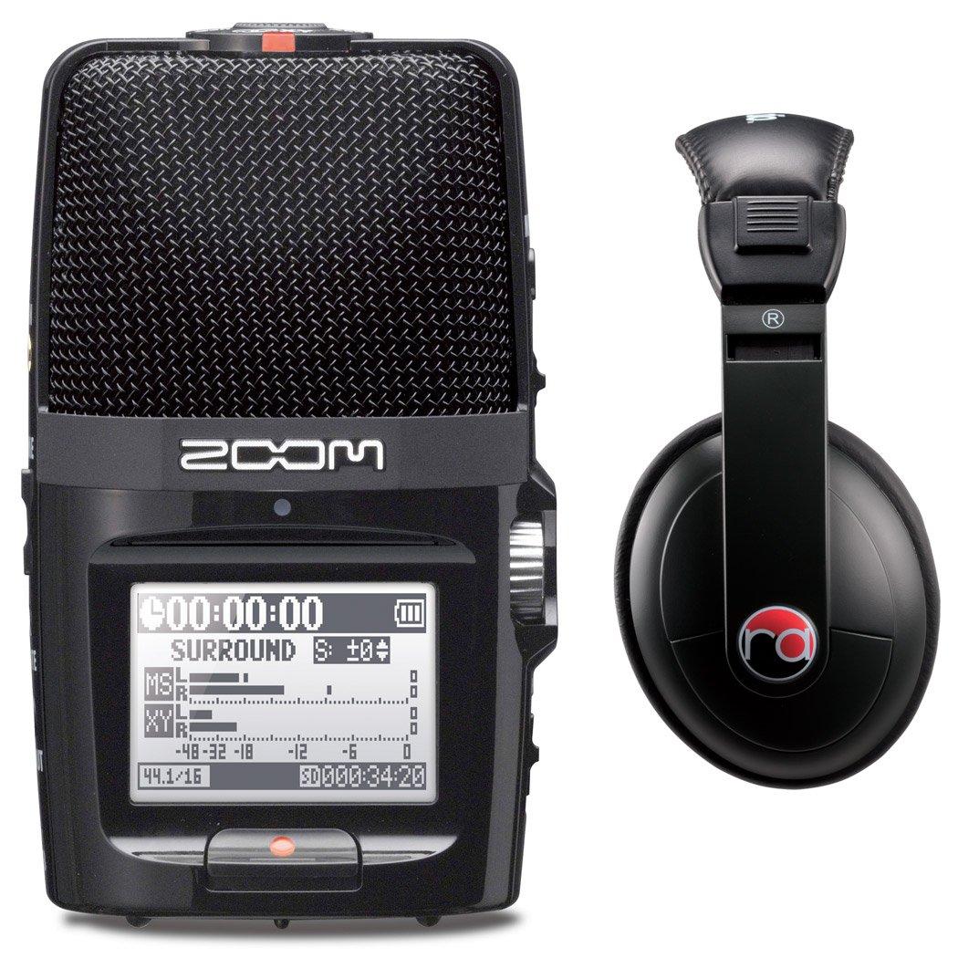 Zoom H2n Digital Multitrack Recorder w/ Resident Audio R100 Headphones - Bundle