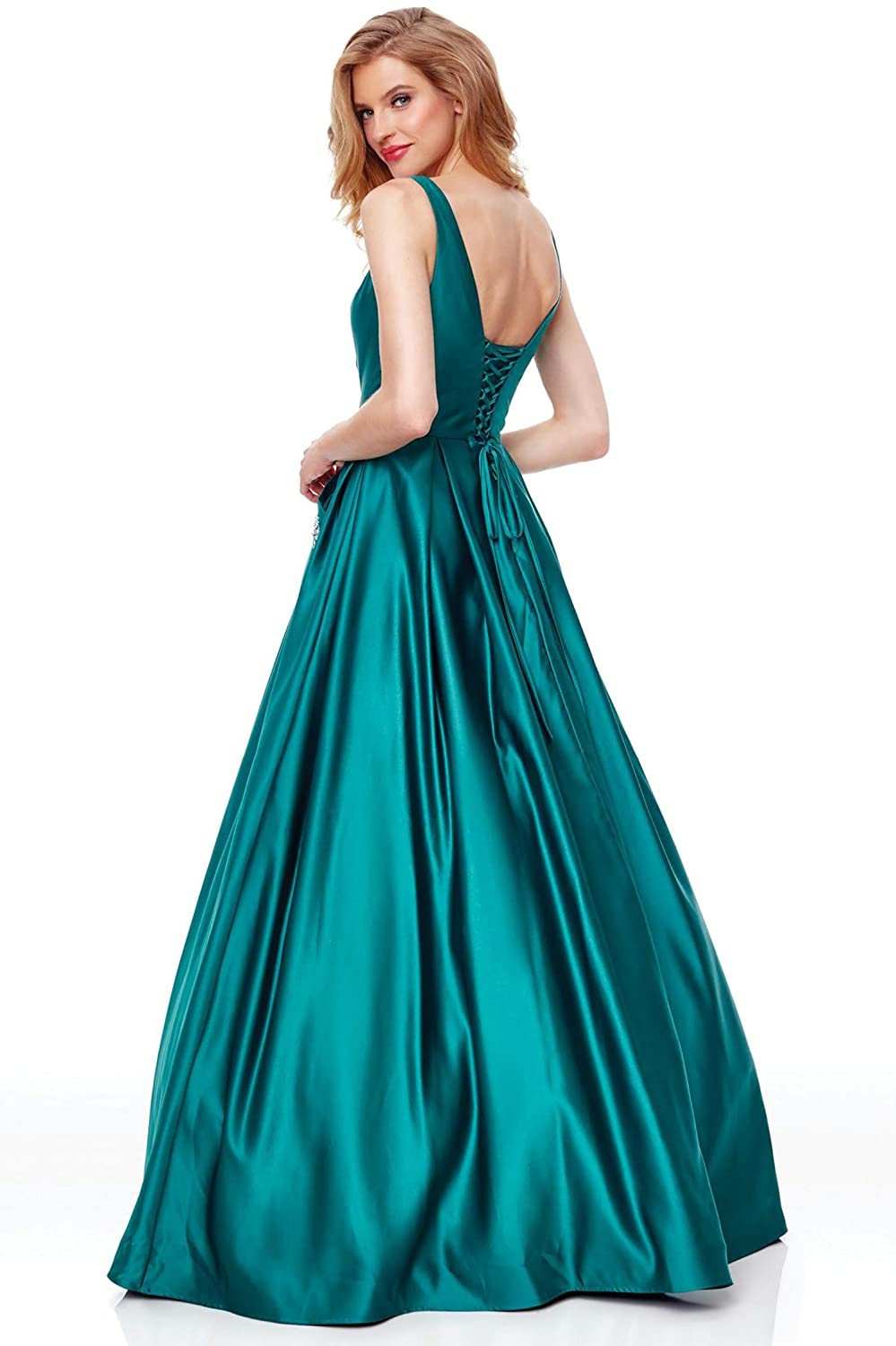 16c8a002d332 Zhongde Women's V Neck Open Back Beaded Satin Prom Dress Long Formal  Evening Gown with Pockets at Amazon Women's Clothing store: