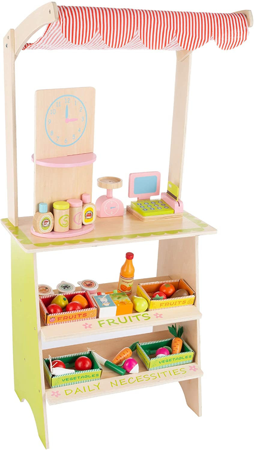 Hey! Play! Kids Fresh Market Selling Stand– Wooden Grocery Store Playset with Toy Cash Register, Scale, Pretend Credit Card & 31 Food Accessories