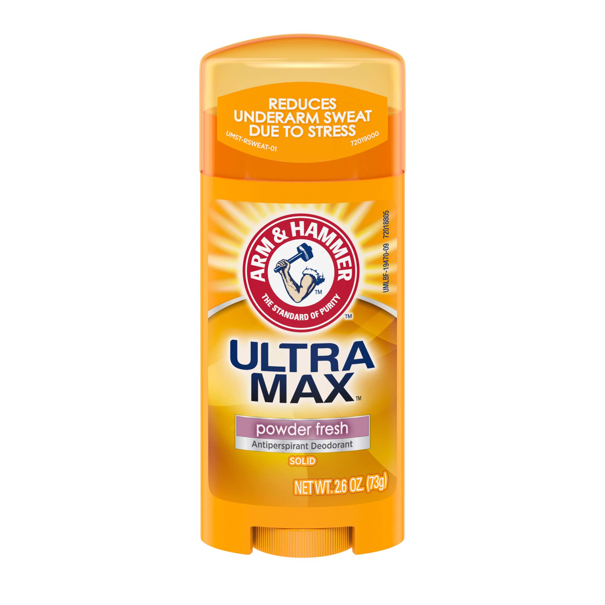 ARM & HAMMER ULTRA MAX Deodorant- Powder Fresh- Solid Oval - 2.6oz- Made with Natural Deodorizers (Pack of 6)