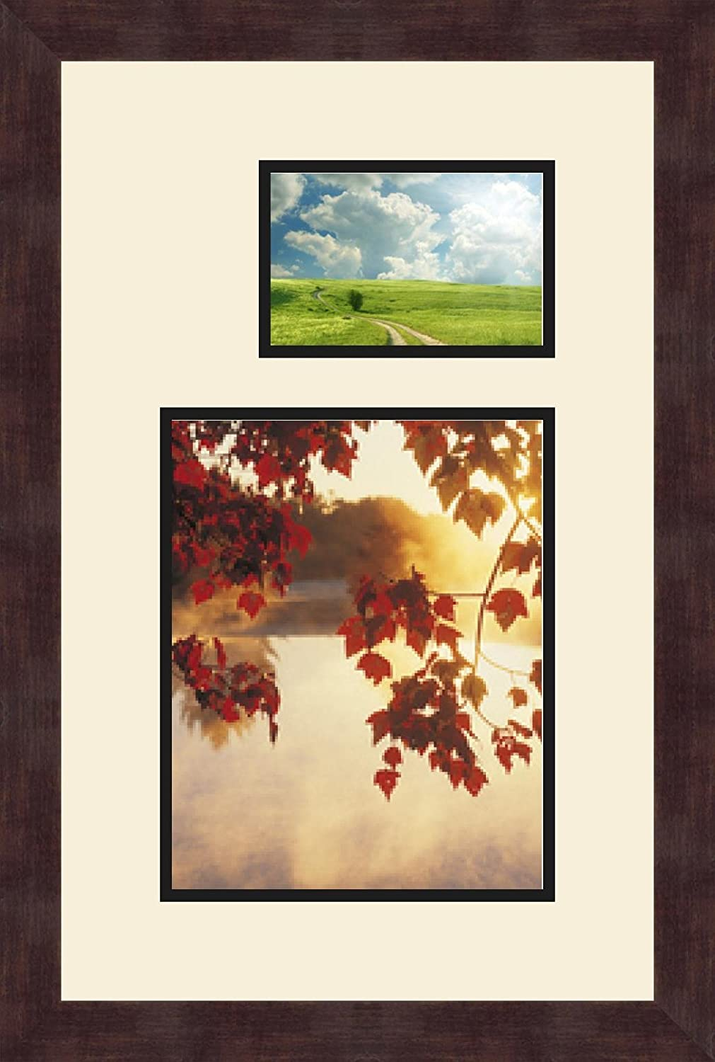 Art to Frames Double-Multimat-198-767//89-FRBW26061 Collage Frame Photo Mat Double Mat with 1-8x10 and 1-4x6 Openings and Espresso Frame