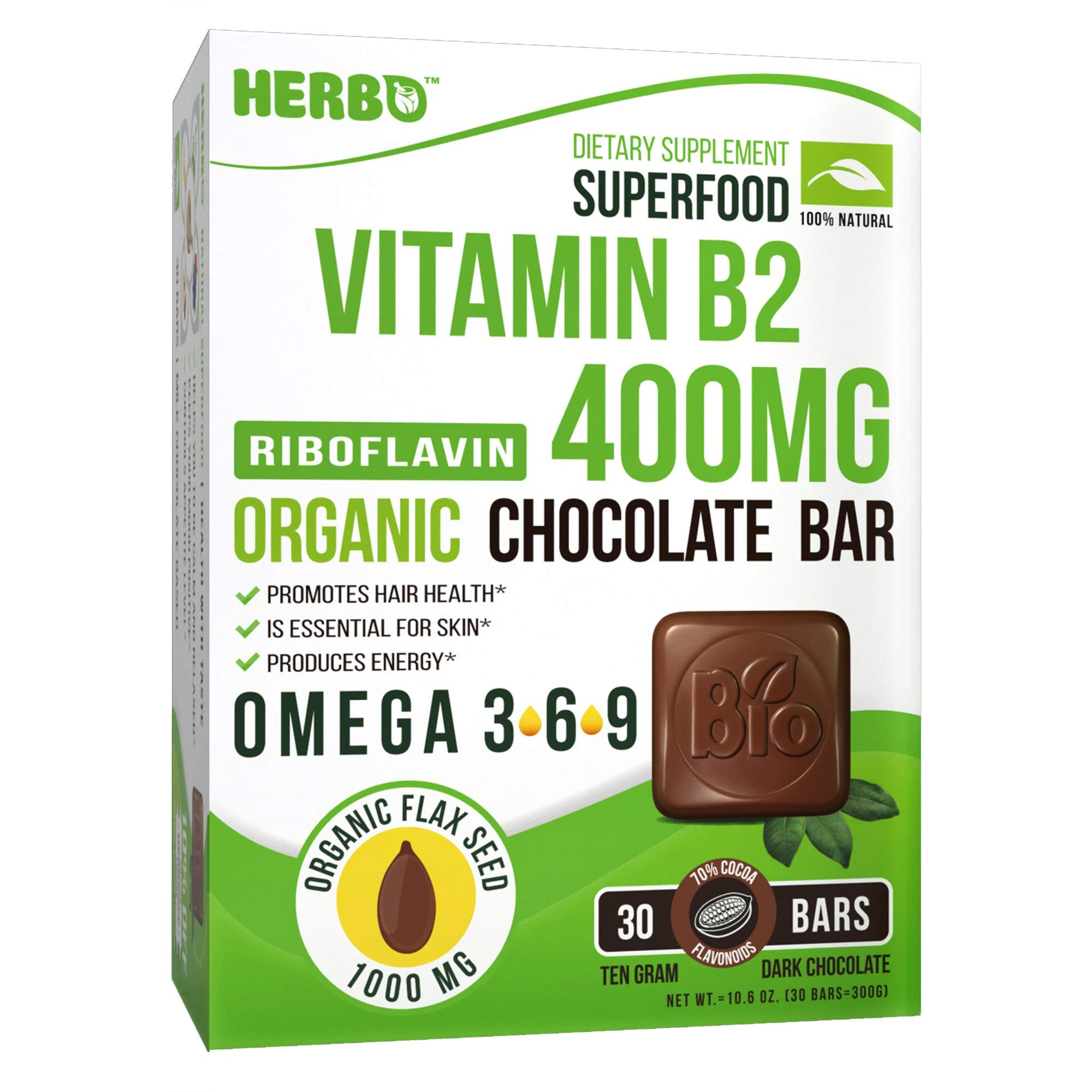 Herbo Superfood Vitamin B2 Riboflavin 400 mg Supplement in Organic Dark Chocolate - Increases Energy and Helps For Stress, Headaches & Migraines - 30 Bars With Omega 3 Non-GMO, Gluten Free, Dairy Free by HERBO SUPERFOOD