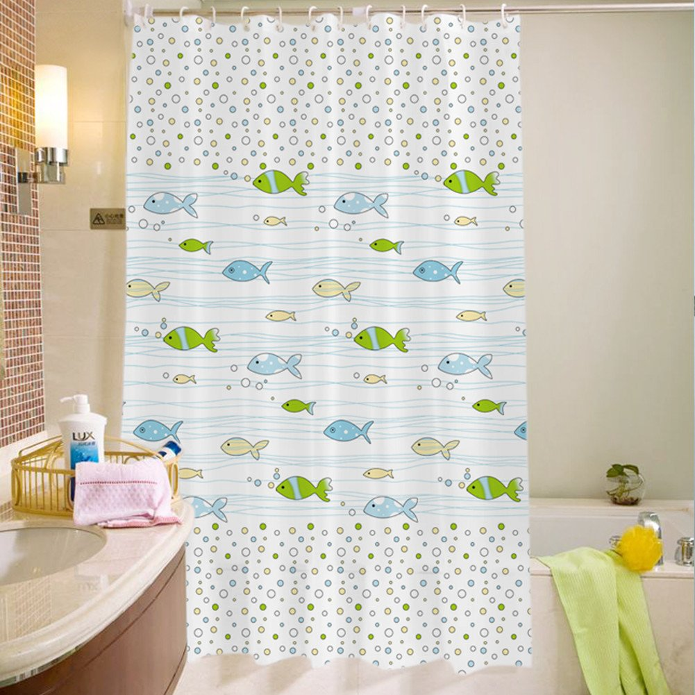 Uforme Sea Star Theme Pattern Shower Curtain Liner Waterproof, 100% Eco-friendly PEVA Bathroom Curtian Mildew Resistant with Rustproof Metal Grommets (72Wx72L, White) XC-PEVA/Shell/White7272