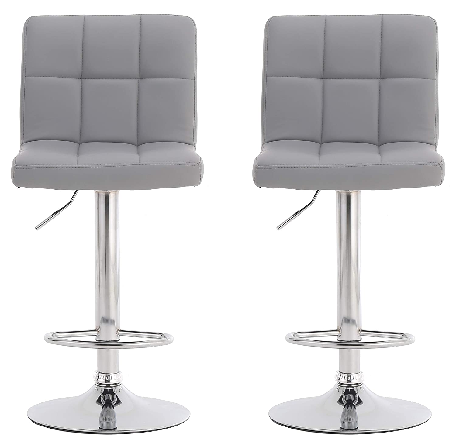 Fine Millhouse Pair Of Cuban Bar Stools Set With Backrest Leatherette Exterior Adjustable Swivel Gas Lift Chrome Footrest And Base For Breakfast Bar Cjindustries Chair Design For Home Cjindustriesco